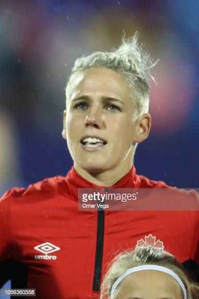 Sophie Schmidt of Canada stands for their national athem prior to match between Canada and United States as part of CONCACAF Women's Championship at...