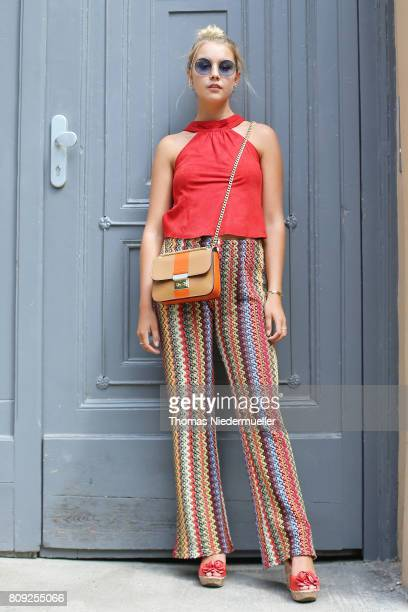 Sophie Scholl poses during the MercedesBenz Fashion Week Berlin Spring/Summer 2018 at Kaufhaus Jandorf on July 5 2017 in Berlin Germany