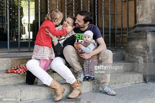 Sophie Schuett her children Shaza Maria Schuett and Lonzo Henry Schuett and her partner Felix Seitz pose during a family photo session September 27...