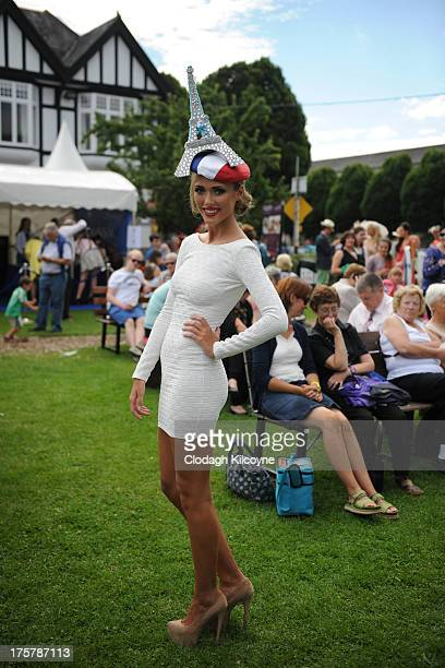 Sophie Shannon aged 20 from Dublin takes part in ladies day at the Royal Dublin Society Dublin horse show at Royal Dublin Society on August 8 2013 in...