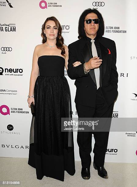 Sophie Simmons and Gene Simmons attend the 24th annual Elton John AIDS Foundation's Oscar viewing party on February 28, 2016 in West Hollywood,...