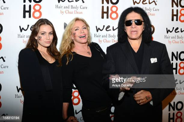 Sophie Simmons Shannon Tweed and Gene Simmons arrive at the NOH8s 4th Anniversary celebration at Avalon on December 12 2012 in Hollywood California