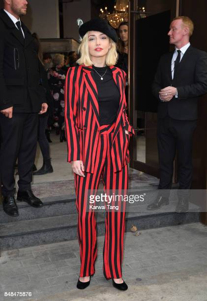 Sophie Simnett arrives for the TOPSHOP Fashion show during London Fashion Week September 2017 on September 17 2017 in London England