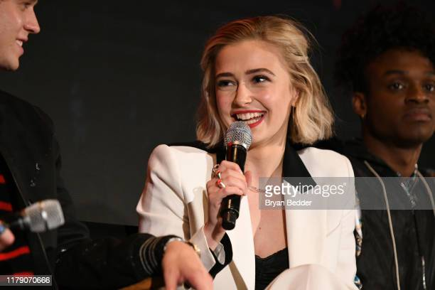 Sophie Simnett speaks onstage during New York Comic Con 2019 Day 2 at Jacobs Javits Center on October 04 2019 in New York City