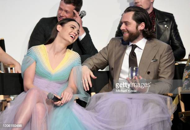 """Sophie Skelton and Richard Rankin speak onstage during the Starz Premiere event for """"Outlander"""" Season 5 at Hollywood Palladium on February 13, 2020..."""