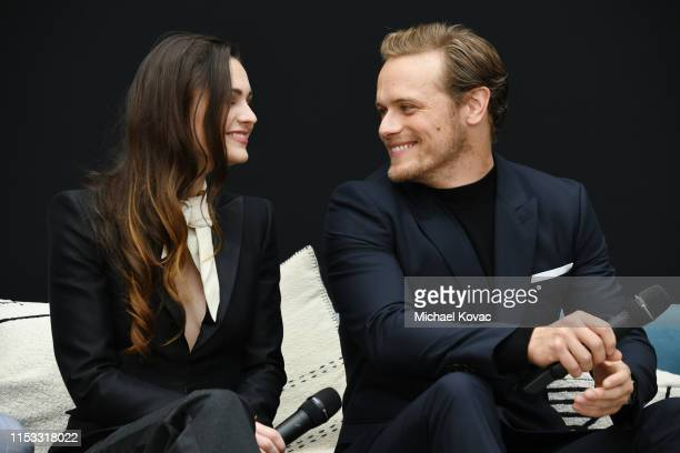Sophie Skelton and Sam Heughan speak onstage at the 'Outlander' Panel during Starz FYC 2019 — Where Creativity, Culture and Conversations Collide on...