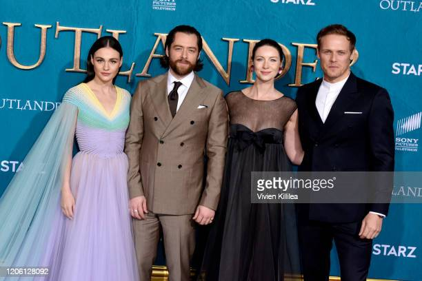Sophie Skelton Richard Rankin Caitriona Balfe and Sam Heughan attend the Starz Premiere event for Outlander Season 5 at Hollywood Palladium on...