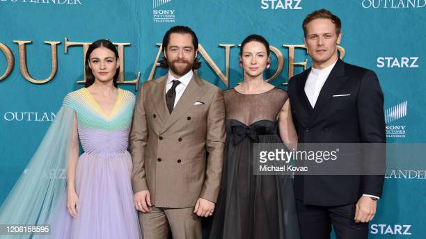 """Sophie Skelton, Richard Rankin, Caitriona Balfe and Sam Heughan attend the Starz Premiere event for """"Outlander"""" Season 5 at Hollywood Palladium on..."""