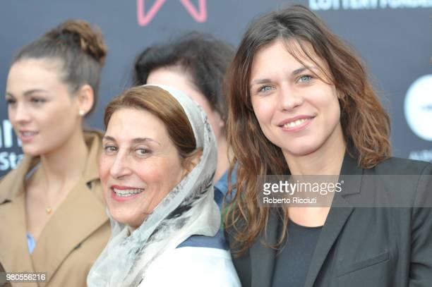 Sophie Skelton Simin MotamedArya and Ana Ularu attend a photocall during the 72nd Edinburgh International Film Festival at Cineworld on June 21 2018...