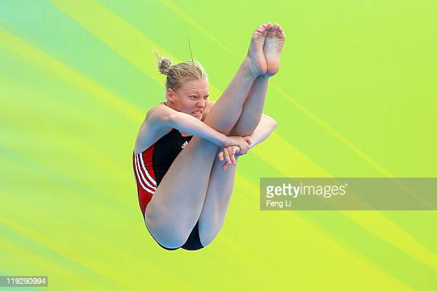 Sophie Somloi of Austria competes in the Women's 1m Springboard preliminary round during Day Two of the 14th FINA World Championships at the Oriental...
