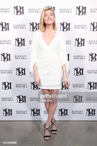 Sophie Sumner poses backstage for Badgley Mischka during New York Fashion Week: The Shows at Gallery I at Spring Studios on February 08, 2020 in New...