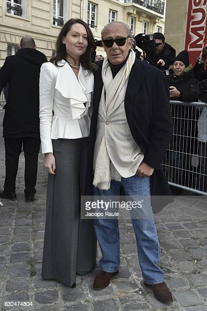 Sophie Taylor and Fawaz Gruosi are seen arriving at Dior Fashion show during Paris Fashion Week Haute Couture F/W 20172018 on January 23 2017 in...