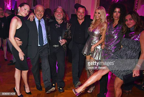 Sophie Taylor Fawaz Gruosi Robert Tchenguiz guests Isis Monteverde and Ella Krasner attend Lisa Tchenguiz's birthday party on January 23 2016 in...
