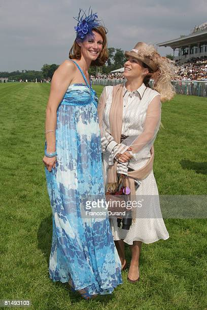 Sophie Thalmann and Princess Zahra pose after the 'Prix de Diane' ceremony on June 08, 2008 in Chantilly, France.