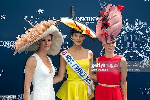 Sophie Thalmann Camille Cerf and Sylvie Tellier attend the 'Prix de Diane Longines 2015' at Hippodrome de Chantilly on June 14 2015 in Chantilly...