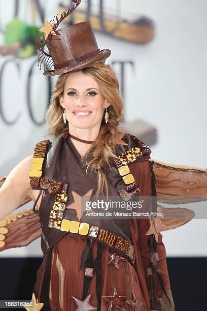 Sophie Thalmann dressed by Philippe Model Frederic Cassel Fontainebleau and JeanPhilippe Doux attends the Salon Du Chocolat 2014 Fashion Chocolate...