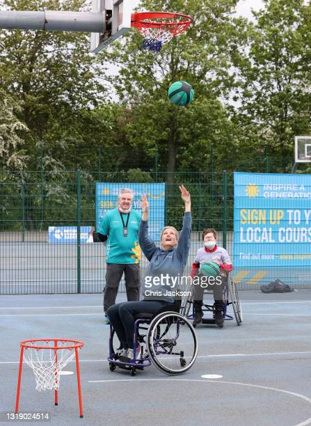 Sophie, The Countess of Wessex plays basketball during a media event to launch the Inspire a Generation programme on May 20, 2021 in London, England....