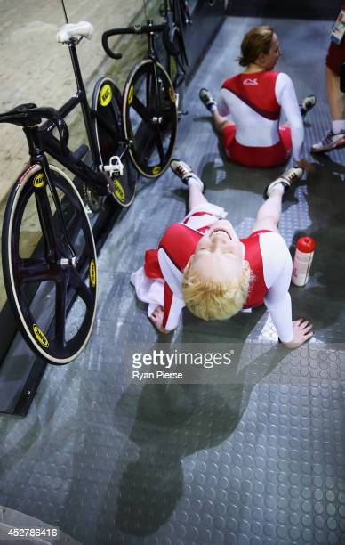 Sophie Thornhill and Helen Scott of England celebrate after winning Gold in the Women's 1000m Time Trial B2 Tandem at Sir Chris Hoy Velodrome during...