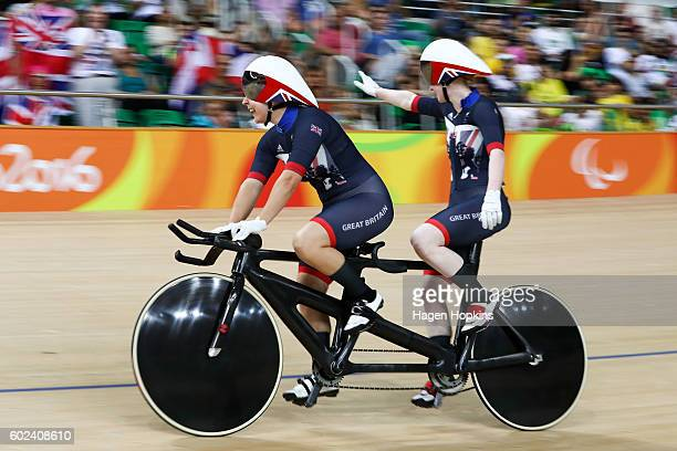 Sophie Thornhill and Helen Scott of Great Britain celebrate after taking bronze in the Women's B 3000m Individual Pursuit Final on day 4 of the Rio...