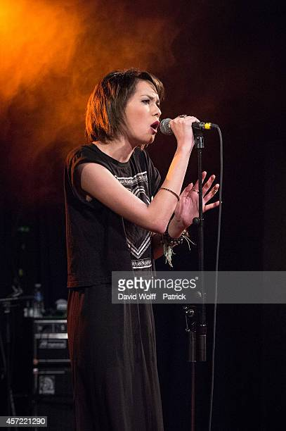 Sophie Tith Charvet performs during private showcase at Divan du Monde on October 14 2014 in Paris France