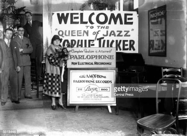 Sophie Tucker ragtime legend most famous for the tune 'Some Of These Days' at the Rivoli Cinema in east London