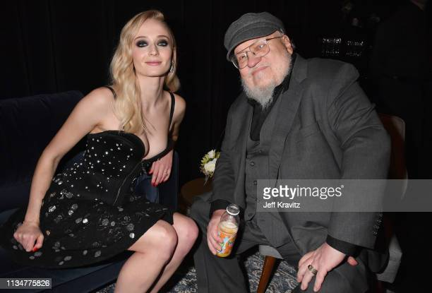 """Sophie Turner and George R. R. Martin attend the """"Game Of Thrones"""" Season 8 NY Premiere on April 3, 2019 in New York City."""