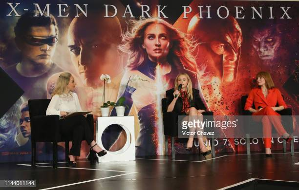 """Sophie Turner and Jessica Chastain attend a press conference to promote their new film """"X-Men: Dark Phoenix"""" at Four Seasons Hotel on May 15, 2019 in..."""