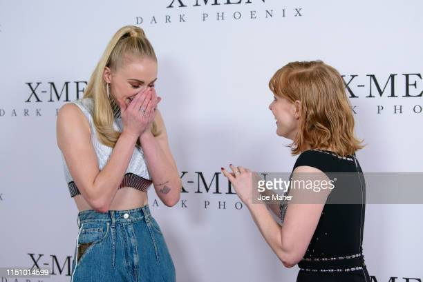 """Sophie Turner and Jessica Chastain attend an exclusive fan event for """"X-Men: Dark Phoenix"""" at Picturehouse Central on May 22, 2019 in London, England."""