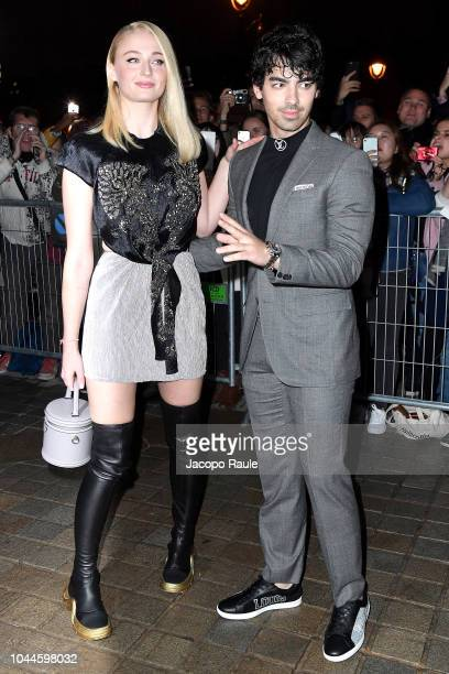 Sophie Turner and Joe Jonas arrive at Louis Vuitton show as part of the Paris Fashion Week Womenswear Spring/Summer 2019 on October 2 2018 in Paris...