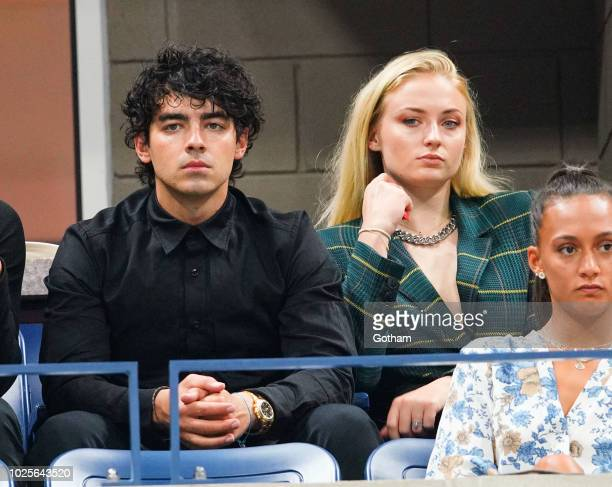 Sophie Turner and Joe Jonas attend day 5 of the 2018 tennis US Open on Arthur Ashe stadium at the USTA Billie Jean King National Tennis Center on...