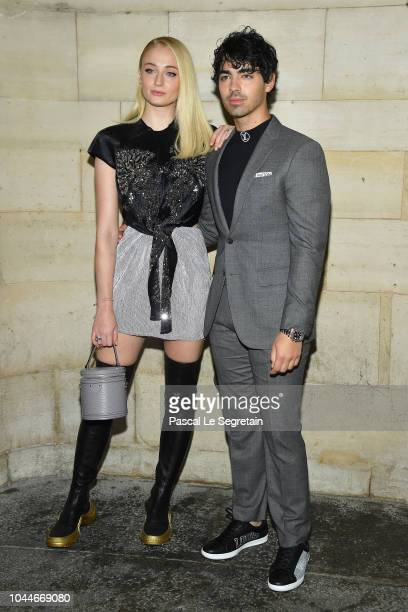 Sophie Turner and Joe Jonas attend the Louis Vuitton show as part of the Paris Fashion Week Womenswear Spring/Summer 2019 on October 2 2018 in Paris...