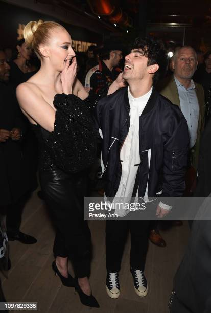 Sophie Turner and Joe Jonas during Republic Records Grammy after party at Spring Place Beverly Hills on February 10 2019 in Beverly Hills California