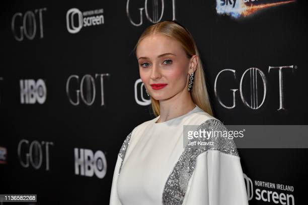 Sophie Turner arrives at the Game of Thrones Season Finale Premiere at the Waterfront Hall on April 12 2019 in Belfast Northern Ireland