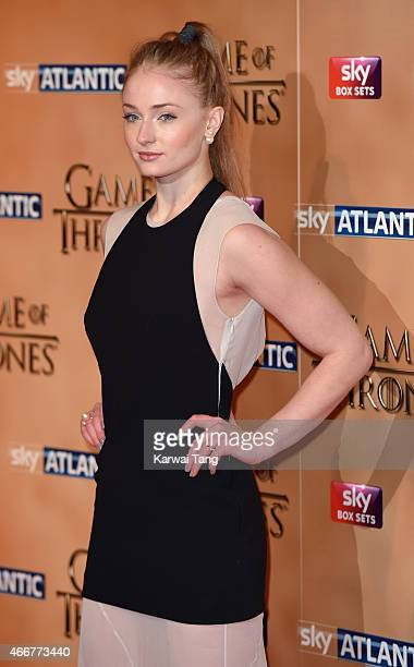 Sophie Turner arrives for the world premiere of Game of Thrones Season 5 at Tower of London on March 18 2015 in London England