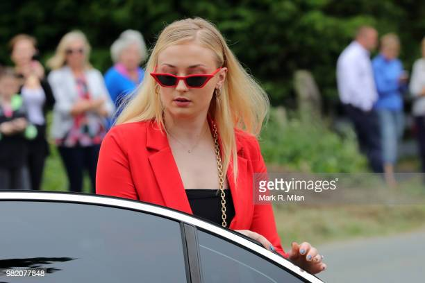 Sophie Turner arriving at Rayne Church in Kirkton on Rayne for the wedding of Kit Harrington and Rose Leslie on June 23 2018 in Aberdeen Scotland