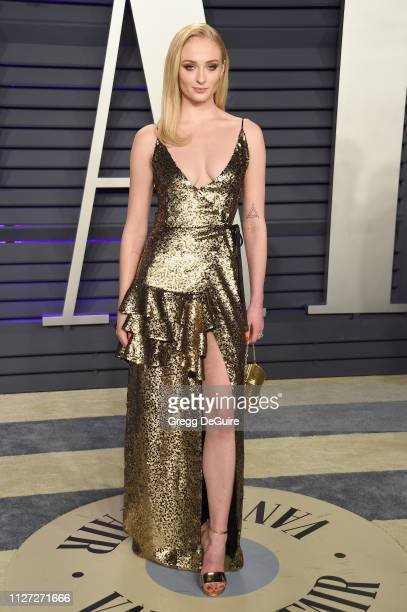 Sophie Turner attend the 2019 Vanity Fair Oscar Party hosted by Radhika Jones at Wallis Annenberg Center for the Performing Arts on February 24 2019...