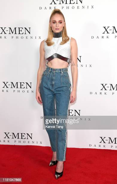 """Sophie Turner attends an exclusive fan event for """"X-Men: Dark Phoenix"""" at Picturehouse Central on May 22, 2019 in London, England."""