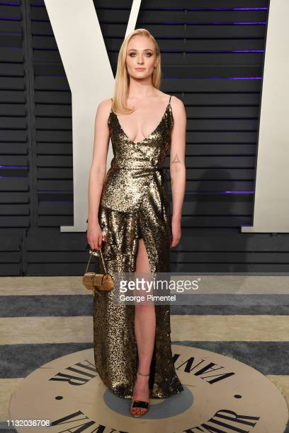 Sophie Turner attends the 2019 Vanity Fair Oscar Party hosted by Radhika Jones at Wallis Annenberg Center for the Performing Arts on February 24 2019...