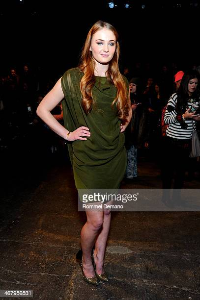 Sophie Turner attends the Christian Siriano fall 2014 fashion show at Eyebeam Studios on February 8 2014 in New York City