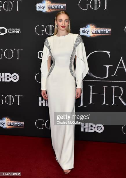 Sophie Turner attends the Game of Thrones Season 8 screening at the Waterfront Hall on April 12 2019 in Belfast Northern Ireland