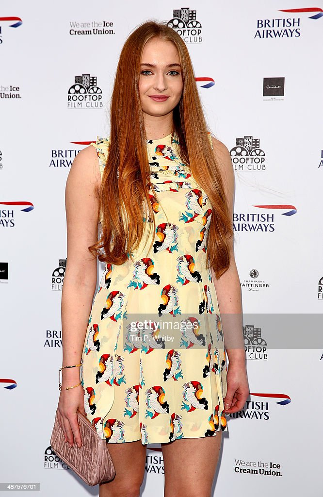 Sophie Turner attends the launch night of the Rooftop Film Club presented by British Airways at The Bussey Building on April 30, 2014 in London, England. The Rooftop Film Club presented by British Airways is a pop up film event where guests use headsets to watch films under the stars, running until September 30.