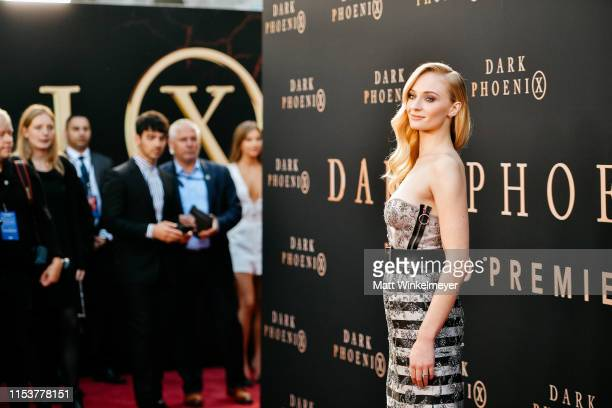 """Sophie Turner attends the premiere of 20th Century Fox's """"Dark Phoenix"""" at TCL Chinese Theatre on June 04, 2019 in Hollywood, California."""