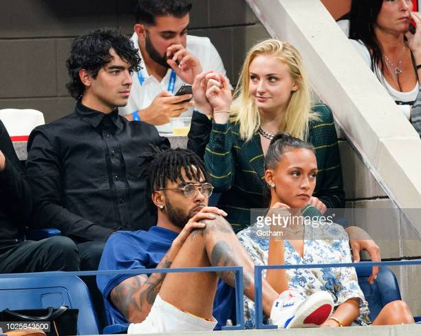 Sophie Turner, Joe Jonas and D'Angelo Russell attend day 5 of the 2018 tennis US Open on Arthur Ashe stadium at the USTA Billie Jean King National...