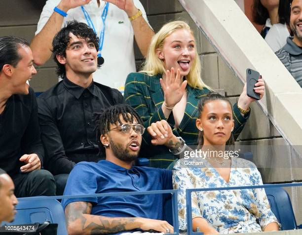 Sophie Turner, Joe Jonas and D'Angelo Russell on August 31, 2018 in New York City.