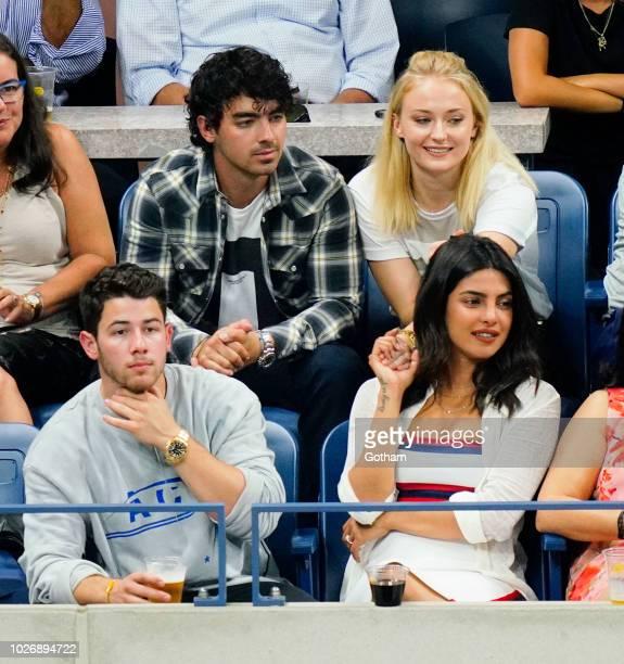 Sophie Turner Joe Jonas Nick Jonas Priyanka Chopra at 2018 US Open each other at the 2018 US Open on September 4 2018 in New York City