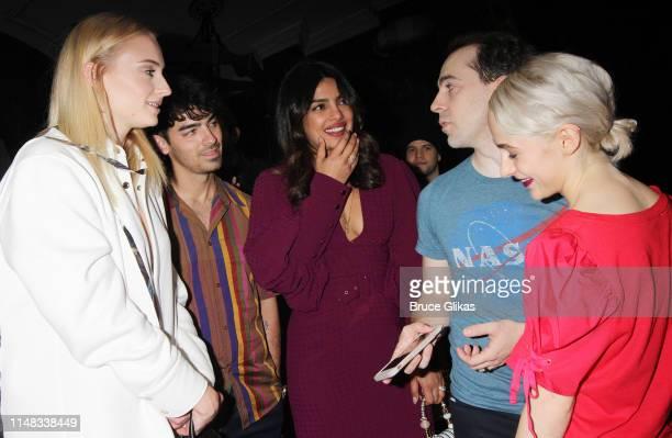 Sophie Turner Joe Jonas Priyanka Chopra Jonas Rob McClure and Sophia Anne Caruso chat backstage at the hit musical based on the film Beetlejuiceon...