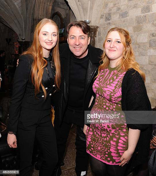 Sophie Turner Jonathan Ross and Honey Kinney attends an after party celebrating the Season 4 premiere of 'Game of Thrones' at The Guildhall on March...