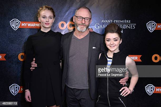 Sophie Turner Liam Cunningham and Maisie Williams attend the 'Game of Thrones Season 4' Paris premiere at Le Grand Rex on April 2 2014 in Paris France