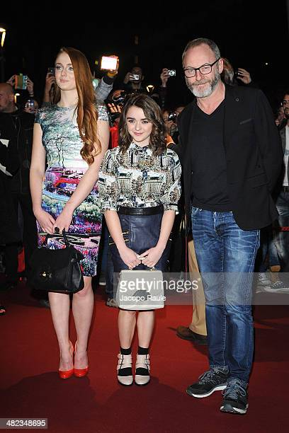 Sophie Turner Maisie Williams and Liam Cunningham arrive at Sky Atlantic Presents Game Of Thrones on April 3 2014 in Milan Italy