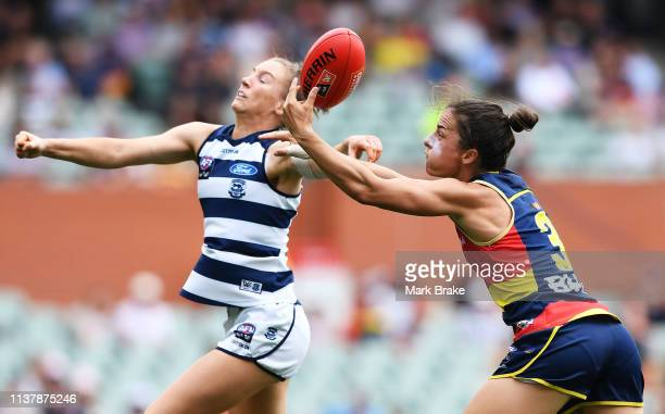 Sophie Van De Heuvel of the Cats competes with Angela Foley of the Adelaide Crows during the AFLW Preliminary Final match between the Adelaide Crows...